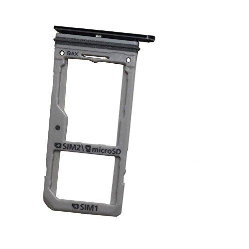Replacement Dual SIM Card +Micro SD Card Holder Slot Tray for Samsung Galaxy S8+ S8 Plus G955 / S8 G950 (Dual SIM-Midnight Black)