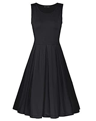 Styleword Women's Sleeveless Casual Cotton Flare Dress