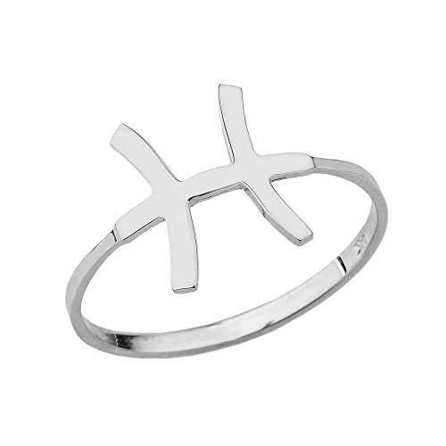 Sterling Silver Pisces Zodiac Horoscope Ring (Size 6)
