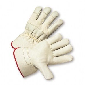 West Chester 5000 White Large Grain Cowhide Leather Full Fingered Work & General Purpose Gloves - Wing Thumb - Uncoated - 10 in Length - 662909-500014 [PRICE is per DOZEN] by West Chester (Image #1)