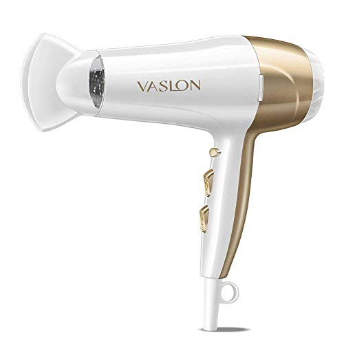 VASLON 1875W Lightweight Negative Ions Hair Blow Dryer with Concentrator Nozzle 2 Speed and 3 Heat Settings Cool shot button DC Motor White