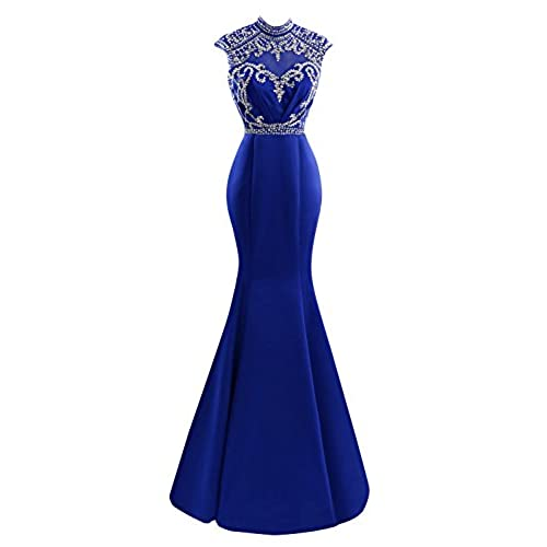 Bess Bridal Womens Beaded High Neck Open Back Mermaid Prom Dress Royal Blue