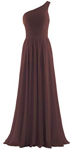 Dress Brown Bridesmaid - ANTS Women's Pleat Chiffon One Shoulder Bridesmaid Dresses Long Evening Gown Size 14 US Brown