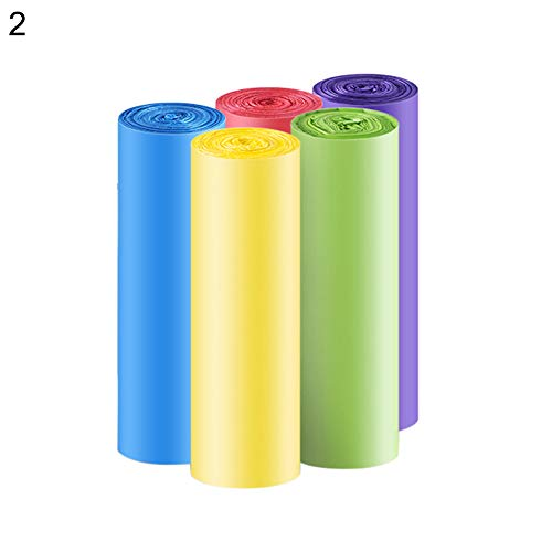 longdelaY6 Trash Bags,longdelaY6 5 Rolls Thick Household Disposable Plastic Trash Pouch Point Off Garbage Bag 2 M