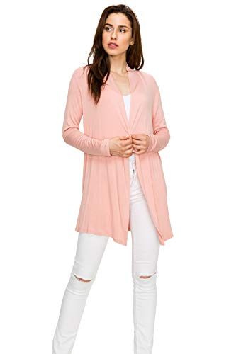 EttelLut Long Open Front Lightweight Cardigan Sweaters Regular and Plus Size Dusty Rose XL ()
