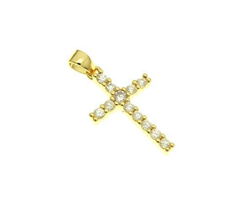 Pave Cross Charm - GOODBEAD CZ Pave Cross Pendant Charm (Gold, 20x12mm)