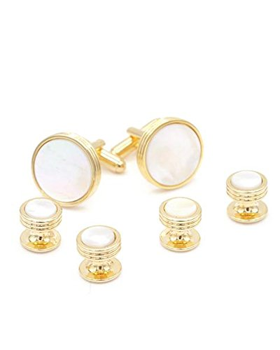Mother of Pearl Formal Tuxedo Cufflinks and Studs Set in Gold