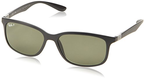 cfc45b6178 Ray-Ban Men s Liteforce Rectangle Sunglasses in Matte Black Green Polarised  RB4215 601S9A 57 - Buy Online in UAE.