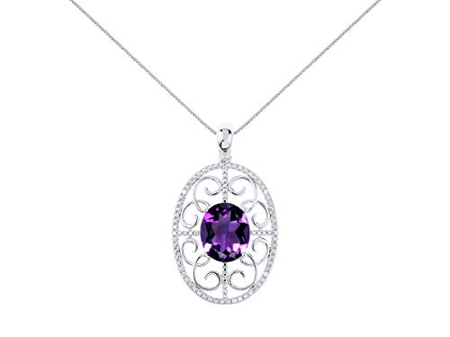 - Diamond & Amethyst Pendant Necklace Set in Sterling Silver Stunning Designer 12x10 Colorstone