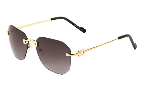 (Bowie Rimless Geometric Wire Aviator Luxury Sunglasses (Gold & Black Frame, Black Gradient))