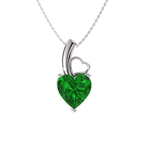 Diamondere Natural and Certified Heart Cut Emerald Solitaire Petite Necklace in 14k White Gold | 0.37 Carat Pendant with Chain