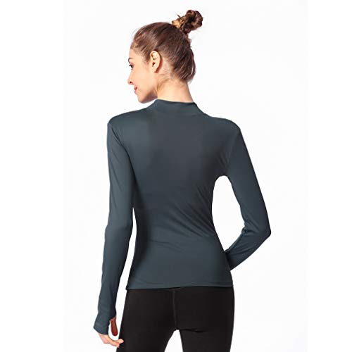 Femmes Zip Workout Thermal 4 Automne À Running De Hiver Vert Manches 1 Kangcheng Longues Haut SqOdTwSC