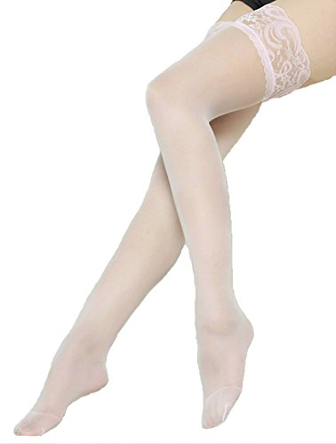 Silky Sheer Thigh High - Women's Sheer Silky Thigh Highs Stockings with Stay Up Silicone Lace Top Pink