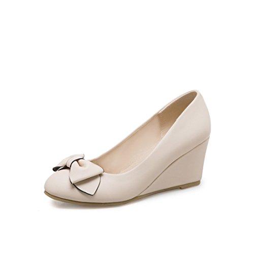 Zapatos de Tacón/Durante la Primavera y el Otoño de Zapatos de Mujer Pendiente con Pajarita, Mujer Tacones Altos con los Estudiantes. Beige