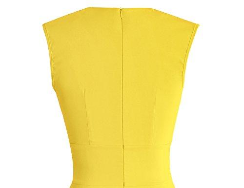 MUXXN Falda de Oscilacion de Velada Dama de Honor Cuello V Retro 1950s para Mujer Yellow