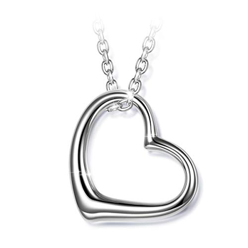 (J.NINA 925 Sterling Silver Necklace Heart Necklaces for Women Mother's Day Jewelry for Women Gifts for Mom)