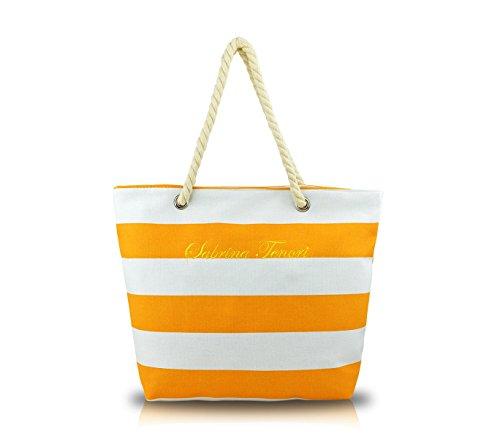 Borsa mare SABRINA T. 376904 modello marinaro in tessuto con manici in corda. MEDIA WAVE store ® (Arancione)