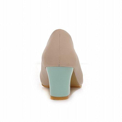 Latasa Womens Fashion Heart Bow Round-toe Chunky Mid-heel Pumps Shoes apricot thjWXD