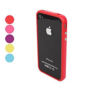 TPU Bumper Frame Case with Metal Buttons for iPhone 4 and 4S --- COLOR:Red