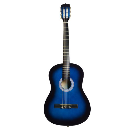 38'' 6-String Folk Acoustic Guitar Basswood for Beginners Music Lovers (Blue) by Lykos
