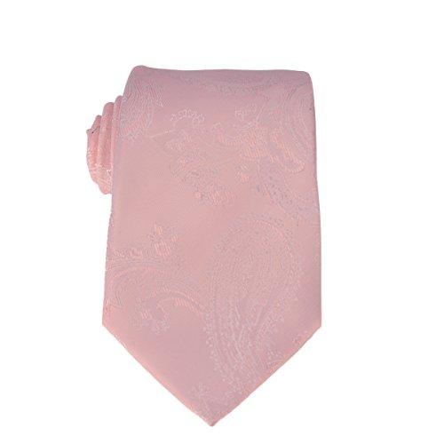 Mens Charm Silk Skinny Paisley Jacquard Tie - Various Color (Blush Pink)