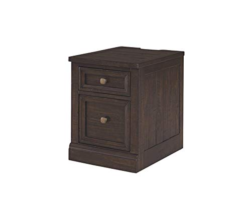 Wood & Style Office Home Furniture Premium File Cabinet - 1 File Cabinet/1 Drawer - 2 Electrical Outlets/2 USB Charging - Power Cord Included - Grayish Brown Finish