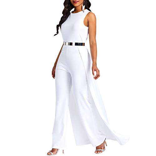 VERWIN Patchwork Overlay Embellished Plain Women's Jumpsuit High-Waist Woman Romper White M