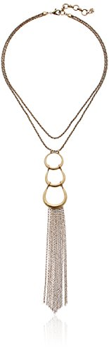 Boho-Chic Vacation & Fall Looks - Standard & Plus Size Styless - Lucky Brand Gold Hoop Pendant with Fringe Necklace