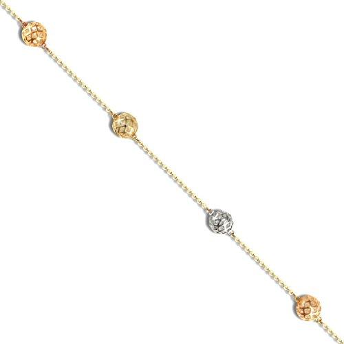 Or 9ct Pierre Bi Couleur de boule & Trace Bracelet 19,1cm