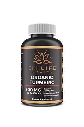 Turmeric Curcumin with BioPerine (pepper extract) by EkhLife Health | High quality, max absorption anti-inflammatory. Non-GMO, Gluten Free, highest potency available (1500mg) 30 day course (90 Caps)