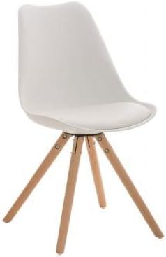 CLP Retrostuhl PEGLEG mit hochwertiger Polsterung und Kunstlederbezug I Schalenstuhl mit Holzgestell und Einer Sitzhöhe von: 46 cm, Farbe:weiß,