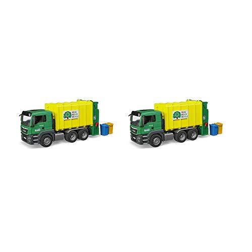 Bruder Toys Man TGS Rear Loading Garbage Waste Toy Truck Vehicle 3 Refuse Bins (2 Pack) ()