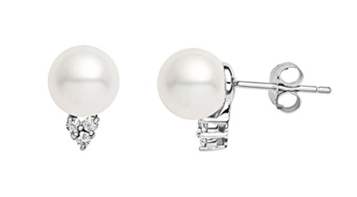 14k White Gold AAAA Quality Japanese White Akoya Cultured Pearl Diamond Stud Earrings (7.5-8mm)