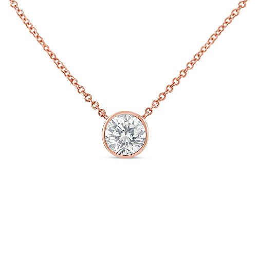 Original Classics 10k Rose Gold Bezel-Set Diamond Solitaire Pendant Necklace (0.2 cttw, H-I Color, SI2-I1 Clarity)