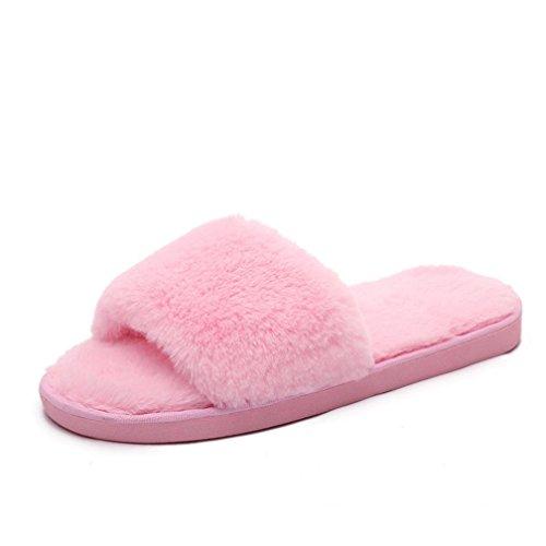 Chaussons Hcfkj Tongs Fourrure Flop Flip Slider Femmes Ladies Slip Pk Sandale Faux On Moelleux 87r8p