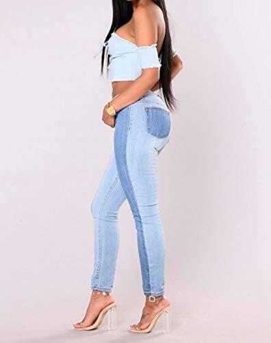 Cvthfyk Jeans snellenti skinny skinny basic a vita alta elasticizzati (Color : Blue, Size : XXL) Blue