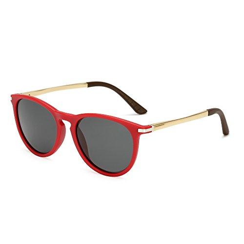 Long Keeper Round Polarized Sunglasses Men Women Fashion Vintage UV400 Glasses (Red Grey)