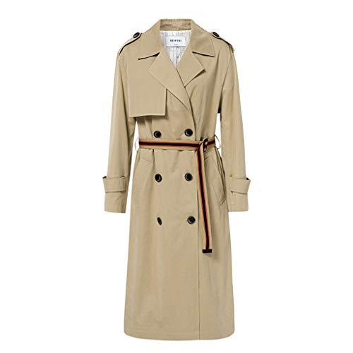 8945cdbe8e15c Fine Trench Double Veste Long coat Manteaux Boutonnage Ressort S Revers À  Colorblock Size Pour Ceinture ...
