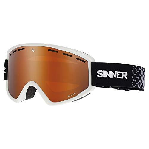 SINNER Bellevue Snow Goggles One Size Matte White ~ Double Orange (Sinner Goggles)