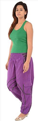 Faldas y bufandas para mujer algodón Afghani Yoga/harén pantalones/Pajama (morado) morado