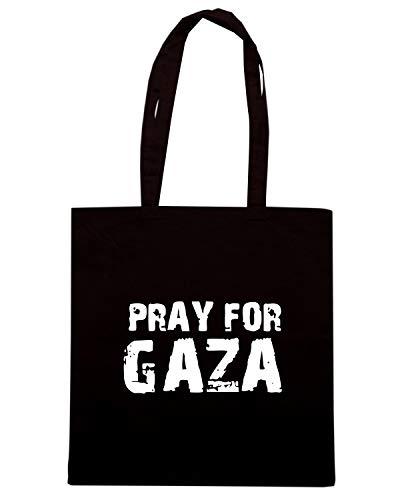 Speed Shirt Borsa Shopper Nera TM0579 PRAY FOR GAZA