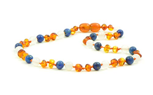 (Baltic Amber Teething Necklace for Baby - Unisex - 12.6-14.2 inches - Amber Jewelry - Hand-Made - Amber White Agate and Lapis Lazuli Beads (13,4 inch))