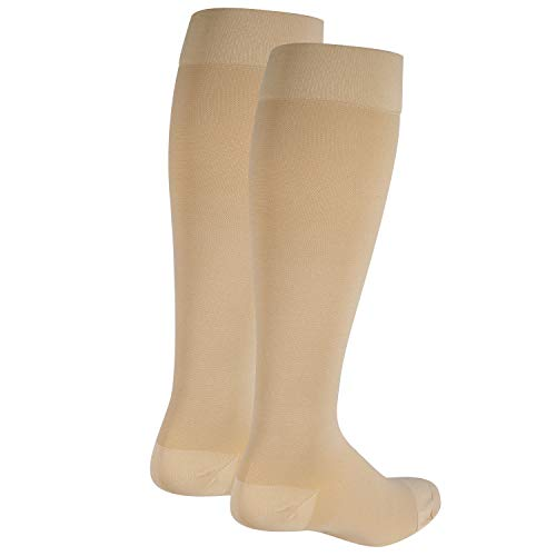 Nuvein Compression Socks for Women and Men, Medical Support Stockings, Beige (Closed Toe), Large (20-30 mmHg)