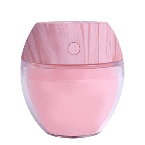 USB Humidifier Purifier,Jchen 110ML Portable Mini Humidifier, Cool Mist Humidifier with Fan Light for Home Bedroom Car (Pink)