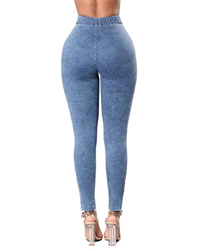 Unique Stlie Pantaloni Hellblau Da Donna Boyfriend Destroyed V Push Denim Jeans Up Biker w0fByczBR