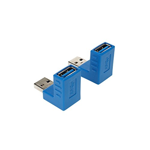 LDKCOK USB 3.0 up down Male to Female Extension Adapter Combo Upward and Downward 90 degree Right Angle USB 3.0 Super-speed Connector Adapte Coupler (90 Degree Blue)