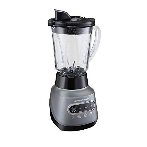 Hamilton Beach Electric Blender Wave Crusher with 6 Functions, Quieter Blending (58181), 40 oz Glass & 20 oz Personal Jar, Gray