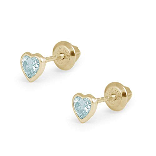 Girl's 14K Yellow Gold Simulated March Birthstone Heart Shape Screw Back Stud Earrings (Baby Earrings Birthstones March)