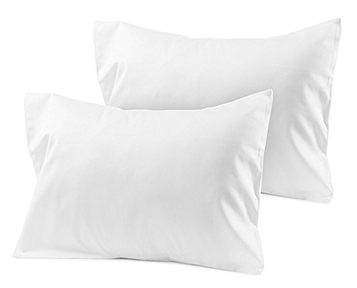 (Travel Pillowcase 12X16 500 Thread Count Egyptian Cotton Set of 2 Toddler Pillowcase With Zipper Closer White Solid With 100% Egyptian Cotton (Toddler Travel 12X16 White Solid))
