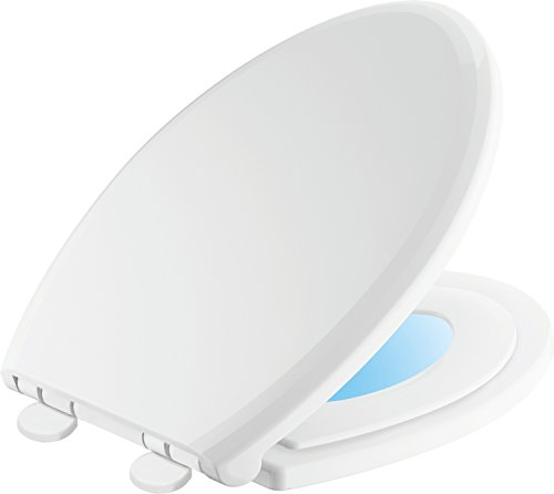 (Delta Faucet 833902-N-WH Sanborne Elongated Potty Training Nightlight Toilet Seat with Slow Close and Quick-Release, White)